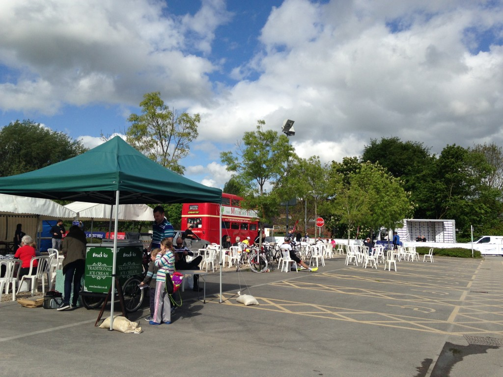 The event village - having had a tornado of cyclists and their families rattle through it
